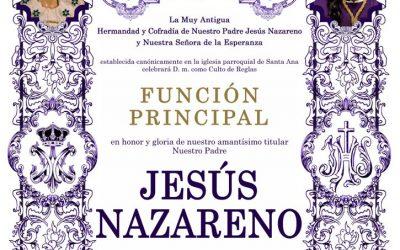 Función principal en honor de Nuestro Padre Jesús Nazareno