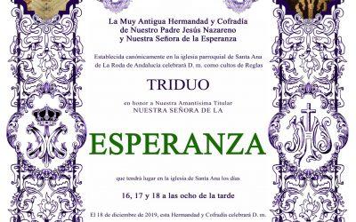 Solemne Triduo en honor de nuestra Titular, Nuestra Señora de la Esperanza