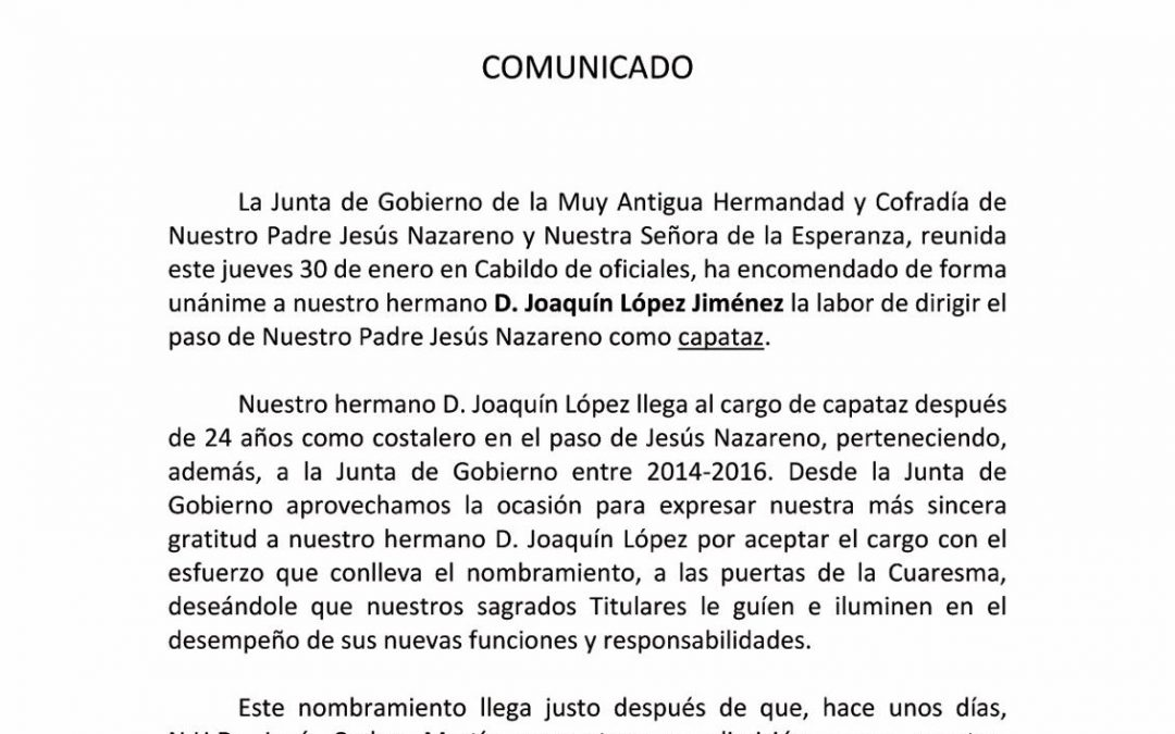 Joaquín López, nuevo capataz del paso del Señor