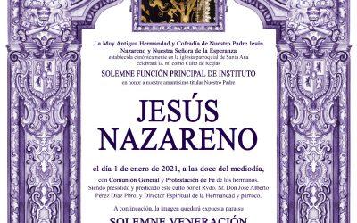 La imagen de Nuestro Padre Jesús Nazareno presidirá la Función principal de Instituto a las puertas de la parroquia