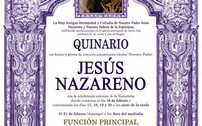 Solemne Quinario en honor y gloria de nuestro Amantísimo Titular